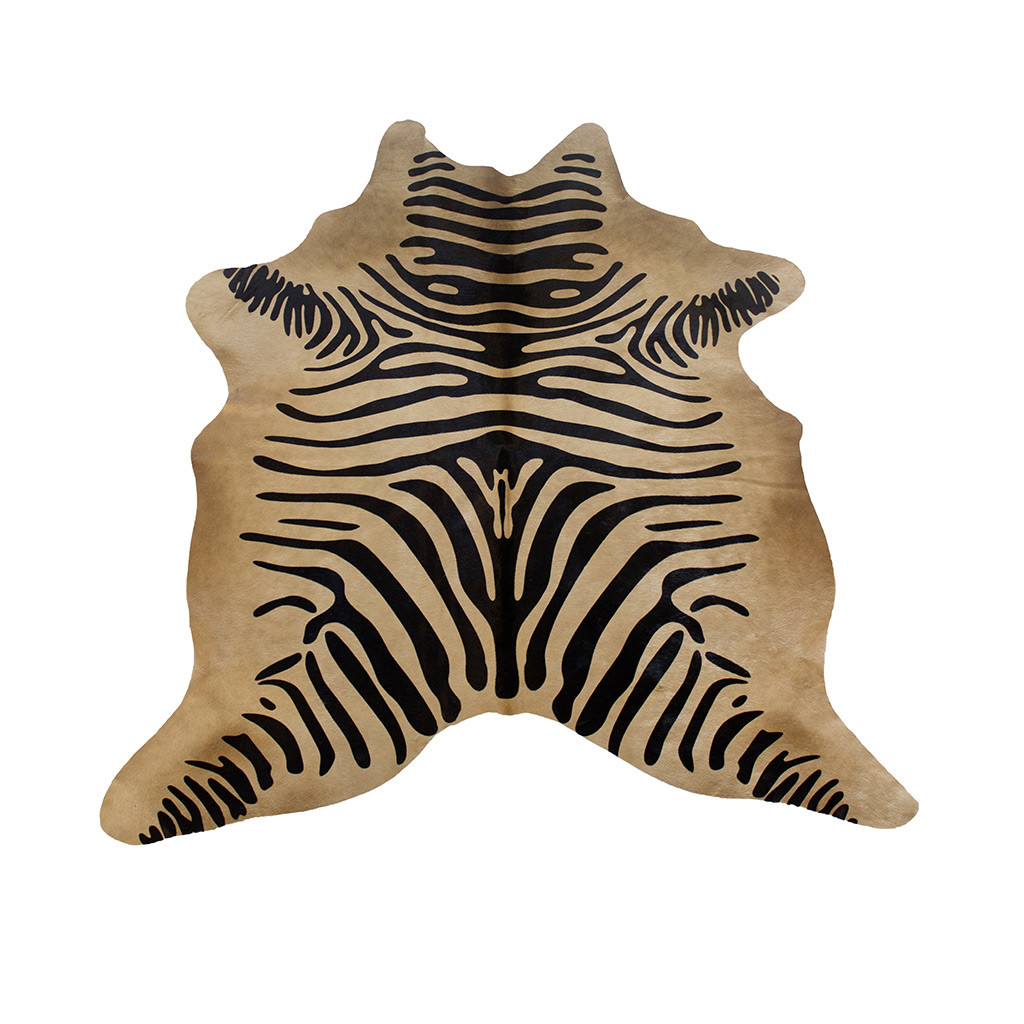 Koeienhuid met zebraprint beige