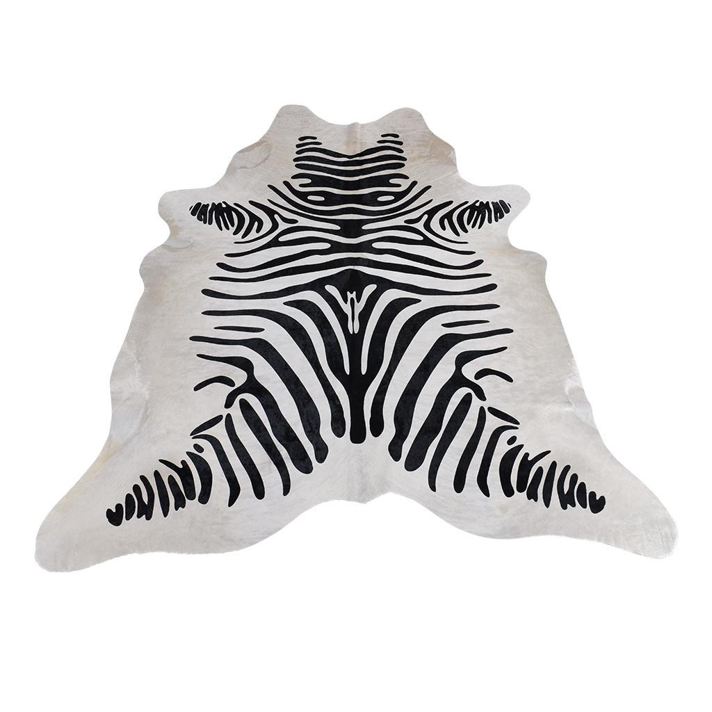 Koeienhuid creme wit zebraprint