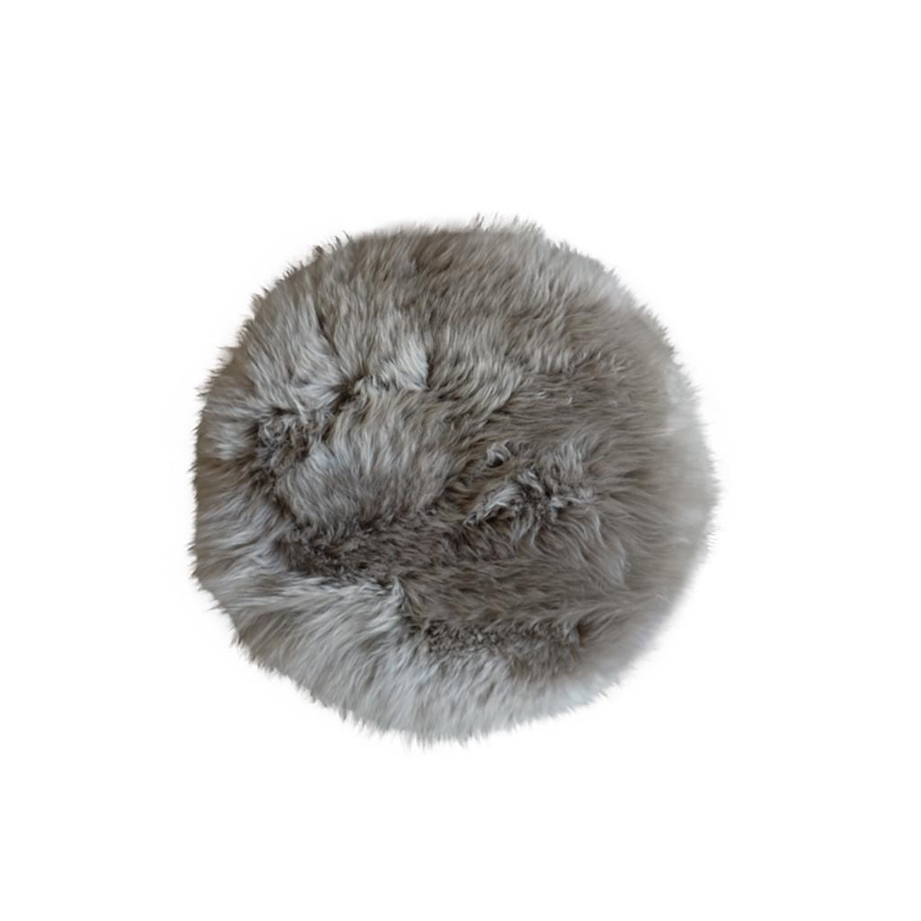 Stoelpad schapenvacht platinum grijs rond
