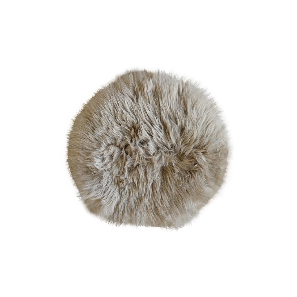 Stoelpad schapenvacht taupe rond