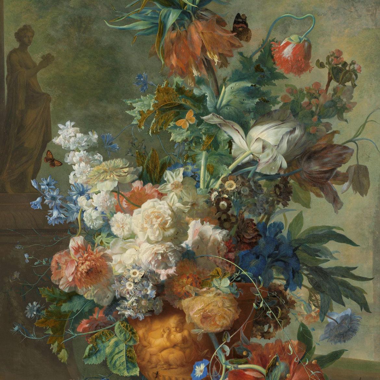 Stilleven van bloemen op een schilderij op hout geprint