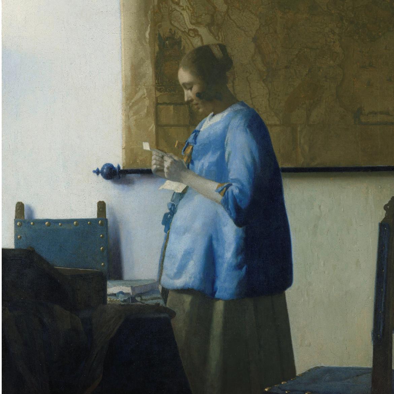 Johannes Vermeer geprint op hout muurdecoratie