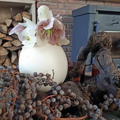 Struisvogeleieren voorjaarsdecoratie dadeltak