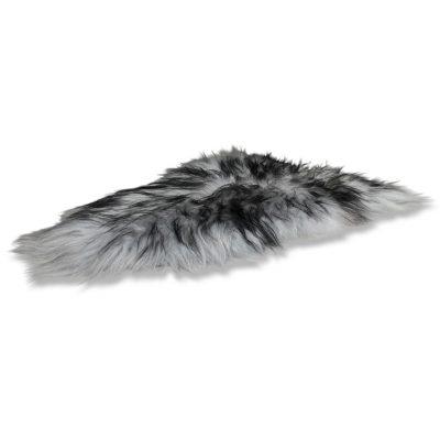 IJslandse schapenvacht grijs met zwarte uiteinden
