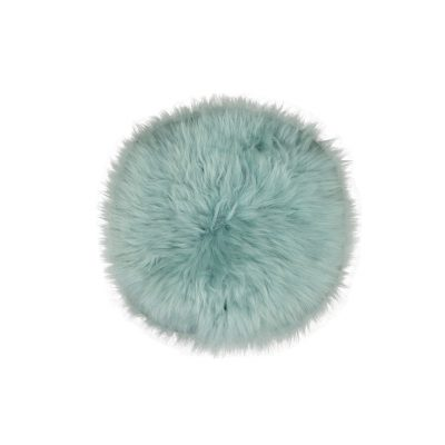 Turquoise stoelzitting van schapenvacht | Rond schapenvachtje
