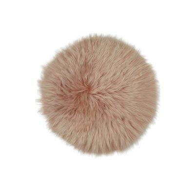Roze stoelpad van schapenvacht | Rond schapenvachtje