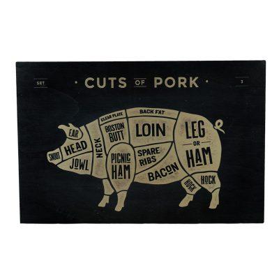 cuts of pork houten schilderij