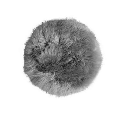 stoelpad schapenvacht grijs rond