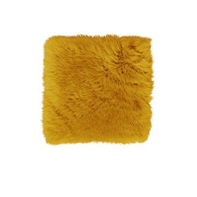 Stoelkussen schapenvacht geel