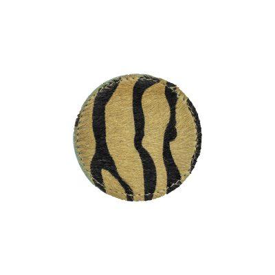 Onderzetters koeienhuid rond zebraprint bruin