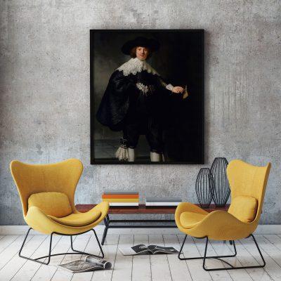 Muur decoratie Portret van Marten Soolmans van Rembrand