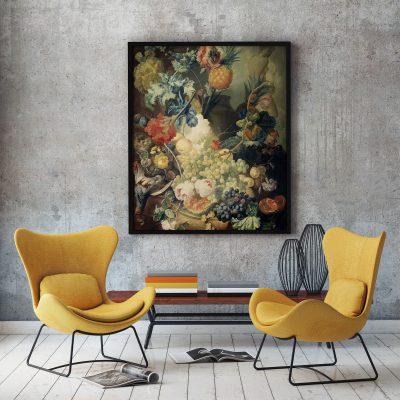 Muur decoratie stilleven met bloemen