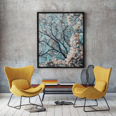 Fotoprint lentetakken bloesem muurdecoratie