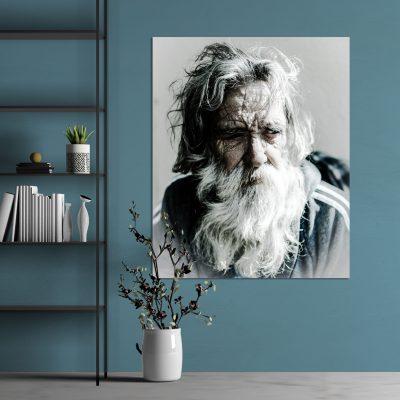 Fotoprint met oude man