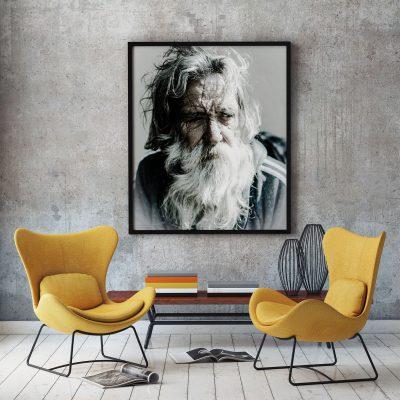 Muurdecoratie met oude man met baard