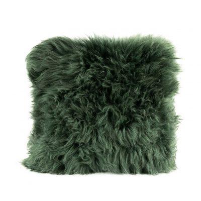 Kussen schapenvacht groen