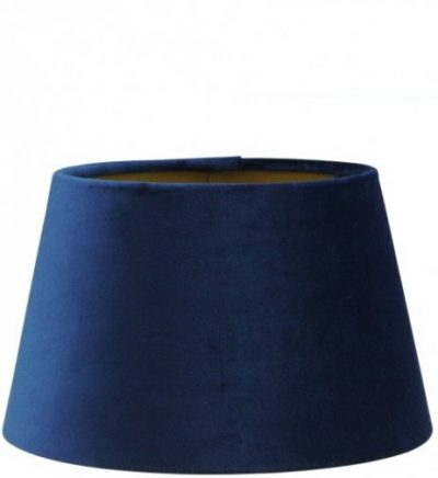 Blauwe fluwelen lampenkap gouden binnenkant halfhoog