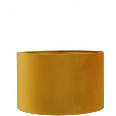 Mosterd gele velvet lampenkap gouden binnenkant cilinder