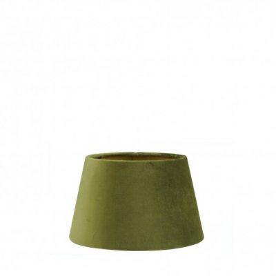 Olijf groene fluwelen lampenkap gouden binnenkant halfhoog