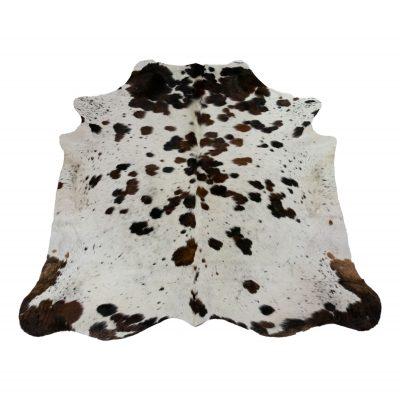 Koeienhuid tricolor wit bruin zwart