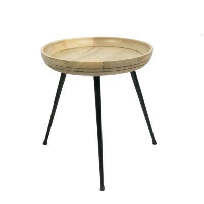 Beige ronde houten bijzettafel metalen pootjes