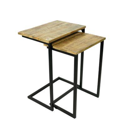 Bijzettafels hout rechthoek set van 2 stuks