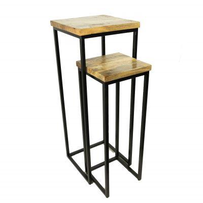 Planten tafels hout set van 2 stuks met metalen pootjes