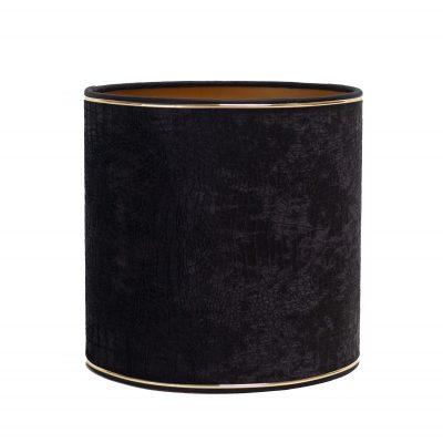 Lampenkap met gouden bies croco fluweel zwart 25-x-25