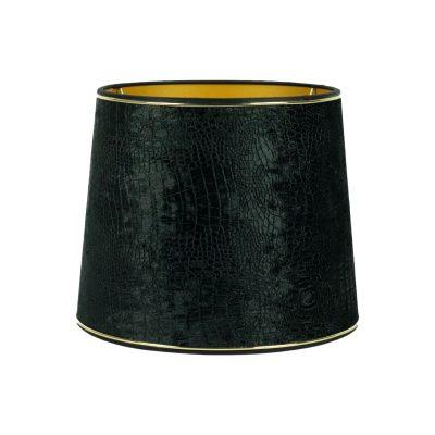 lampenkap zwart met croco print gouden bies